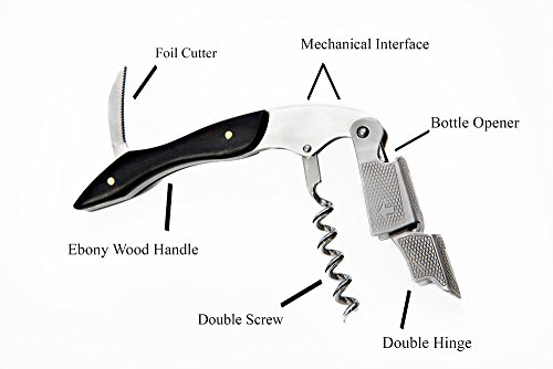 Owltopper S Ebony Wood Stainless Steel Wine Opener Double