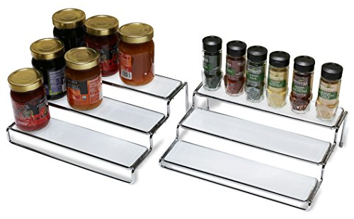 Decobros 3 Tier Expandable Cabinet Spice Rack Step Shelf