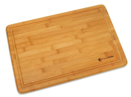 extra large bamboo cutting board 18x12 thick strong bamboo wood cutting board with drip groove. Black Bedroom Furniture Sets. Home Design Ideas
