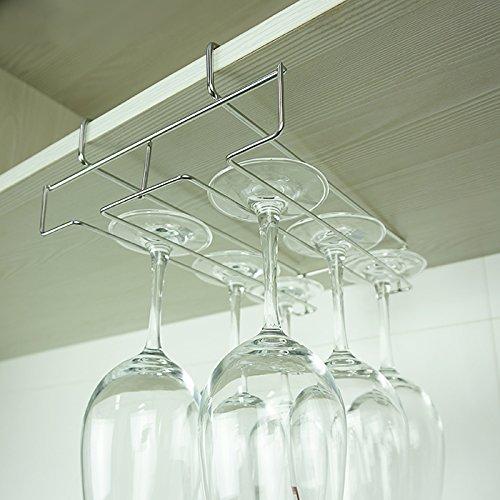 Mkono Under Cabinet Wine Glass Stemware Rack Holder Wire