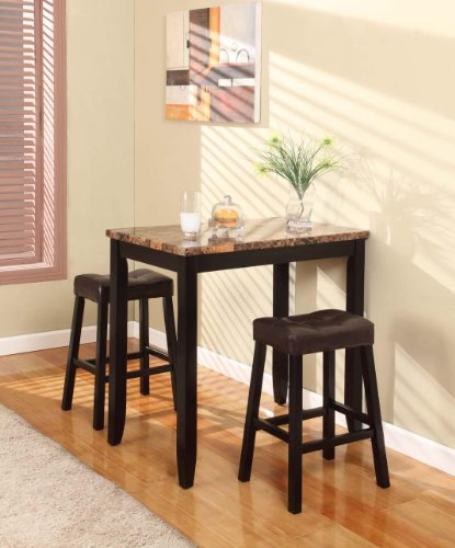 Roundhill Furniture 3 Piece Counter Height Pub Table Set: Roundhill Furniture 3-Piece Counter Height Glossy Print