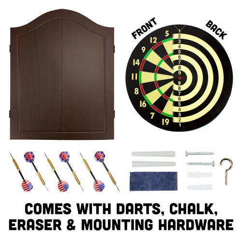 Triple Out Darts Walnut Dartboard Cabinet Set ...