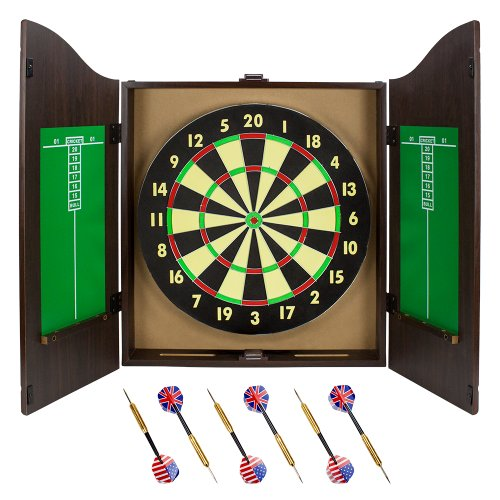 Triple Out Darts Walnut Dartboard Cabinet Set With 6 Brass Darts And Board    Great Bartender