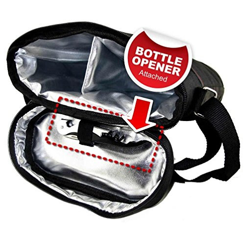 Teikis 2 Bottle 6 Pieces Wine Bag Tote Carrier For