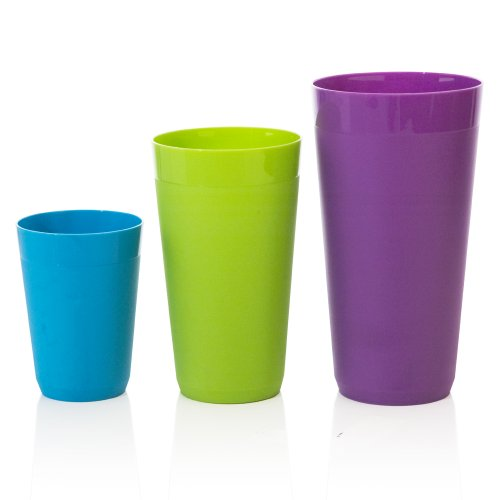 20-ounce 12-Piece Newport Unbreakable Plastic Tumblers four each 10-ounce and 32-ounce in 4 Coastal Colors