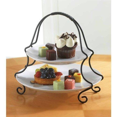 2 Tier Round Serving Platter ...  sc 1 st  Great Bartender & 2 Tier Round Serving Platter Tiered Cake Tray Stand Food Server ...