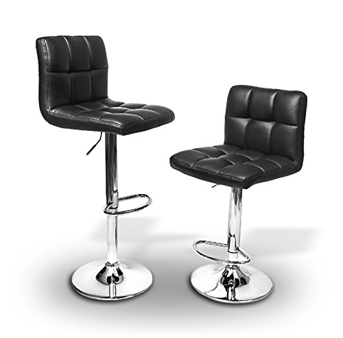 2 X Pu Leather Hydraulic Lift Adjustable Counter Bar Stool