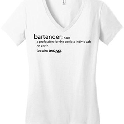 4e9b055c Bartender Gift Funny Definition Badass Juniors Vneck