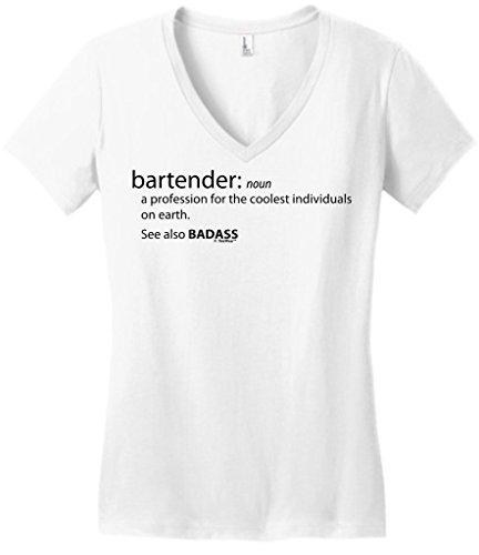 7895cc83 Bartender Gift Funny Definition Badass Juniors Vneck - Great Bartender