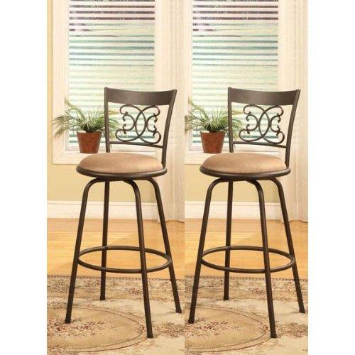Phenomenal Bronze Finish Scroll Back Adjustable Metal Swivel Counter Height Bar Stools Set Of 2 Machost Co Dining Chair Design Ideas Machostcouk