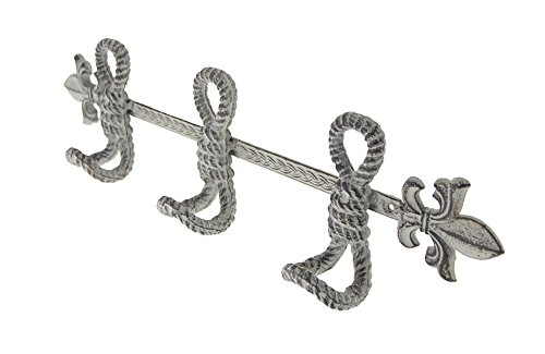 Cast Iron Towel Hanger Fleur De Lis And Marine Knots With 4 Hooks