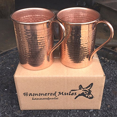 Copper Moscow Mule Mug Hammered Set Of 2 Great Bartender