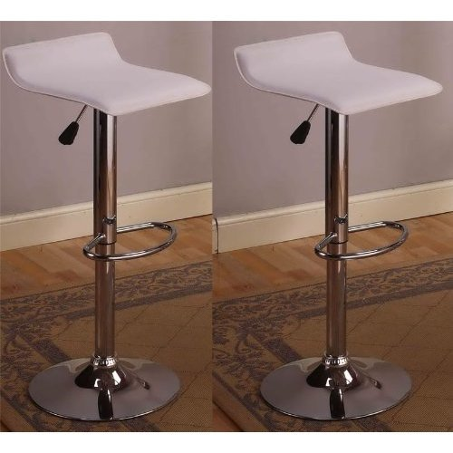 Remarkable Cumar Chrome Air Lift Adjustable Swivel Stools With Sleek Metal Base And Faux Leather Seat Set Of 2 Short Links Chair Design For Home Short Linksinfo