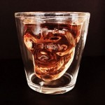 Double Wall Clear Glass Thick Base 1.5 Ounce DownIT Skull Shot Glass