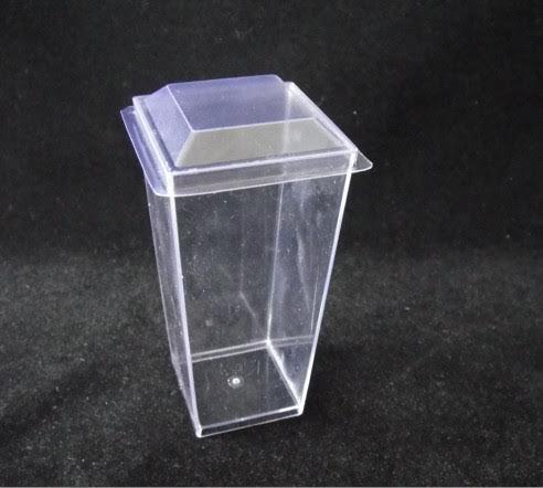 Zappy Elegant Tall Square Mini Cube 3oz Clear Plastic