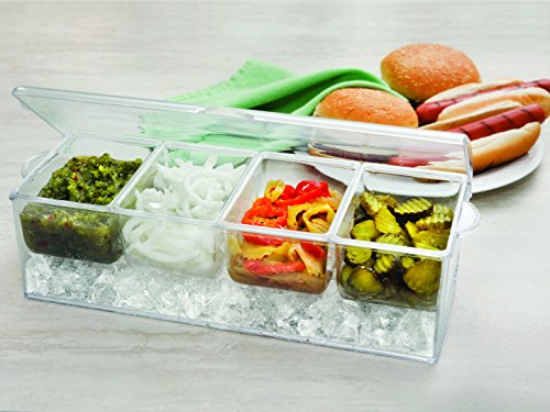7Penn Condiment Tray with Ice Chamber 4 Condiment Containers Bar Garnish Tray Chilled Condiment Server Caddy Lid