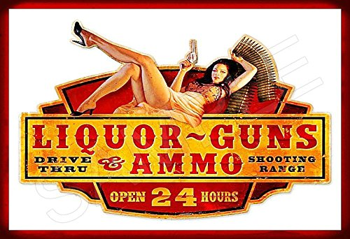 Guns liquor and sexy lady original ink drawing prison art poster by robpauldesigns