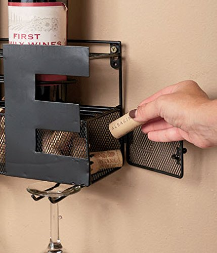 Metal Wall Mount Wine Bottle Rack Hold Corks Gles By