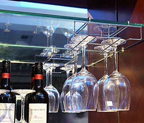Mkono Under Cabinet Wine Glass Stemware Rack Holder Wire