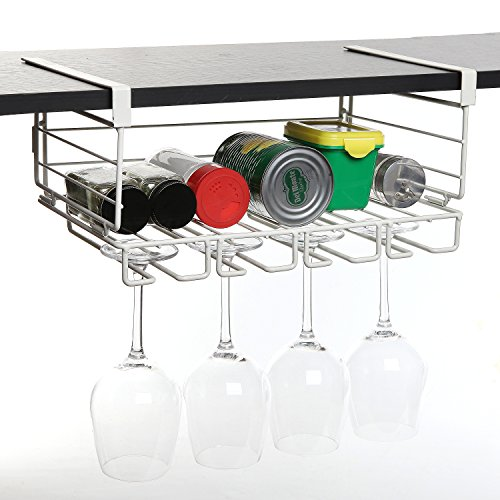 Modern White Metal Under Shelf Hanging Kitchen Storage
