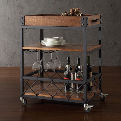 Myra Rustic Mobile Kitchen Bar Serving Cart ...