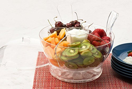 Perlli Ice Chilled Serving Salad Bowl With Dome Lid And Serving Utensils Includes 4 Way Divider Dip Cup Spacious Dome Lid Shatterproof Acrylic 6 5 Quart Capacity Great Bartender