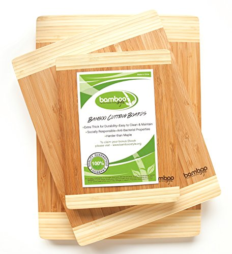 Huge Stock Clearance Sale - Premium 3 Piece Bamboo Cutting Boards by Bamboo  Style®  Eco-friendly Kitchen Chopping Boards Made to Last!