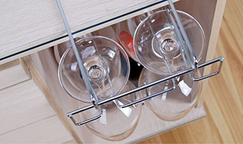 Stemware Hanging Wine Glass Rack Holder Frame Hanger Under Cabinet