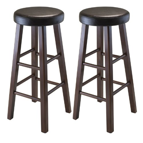 Miraculous Winsome Wood Marta Assembled Round Bar Stool With Pu Leather Cushion Seat And Square Legs 29 Inch Set Of 2 Pabps2019 Chair Design Images Pabps2019Com